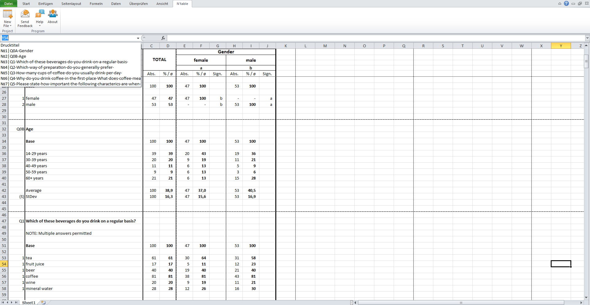7. A clear, Excel-native export sheet. Hyperlinked dropdown menu for quick navigation without tedious scrolling.