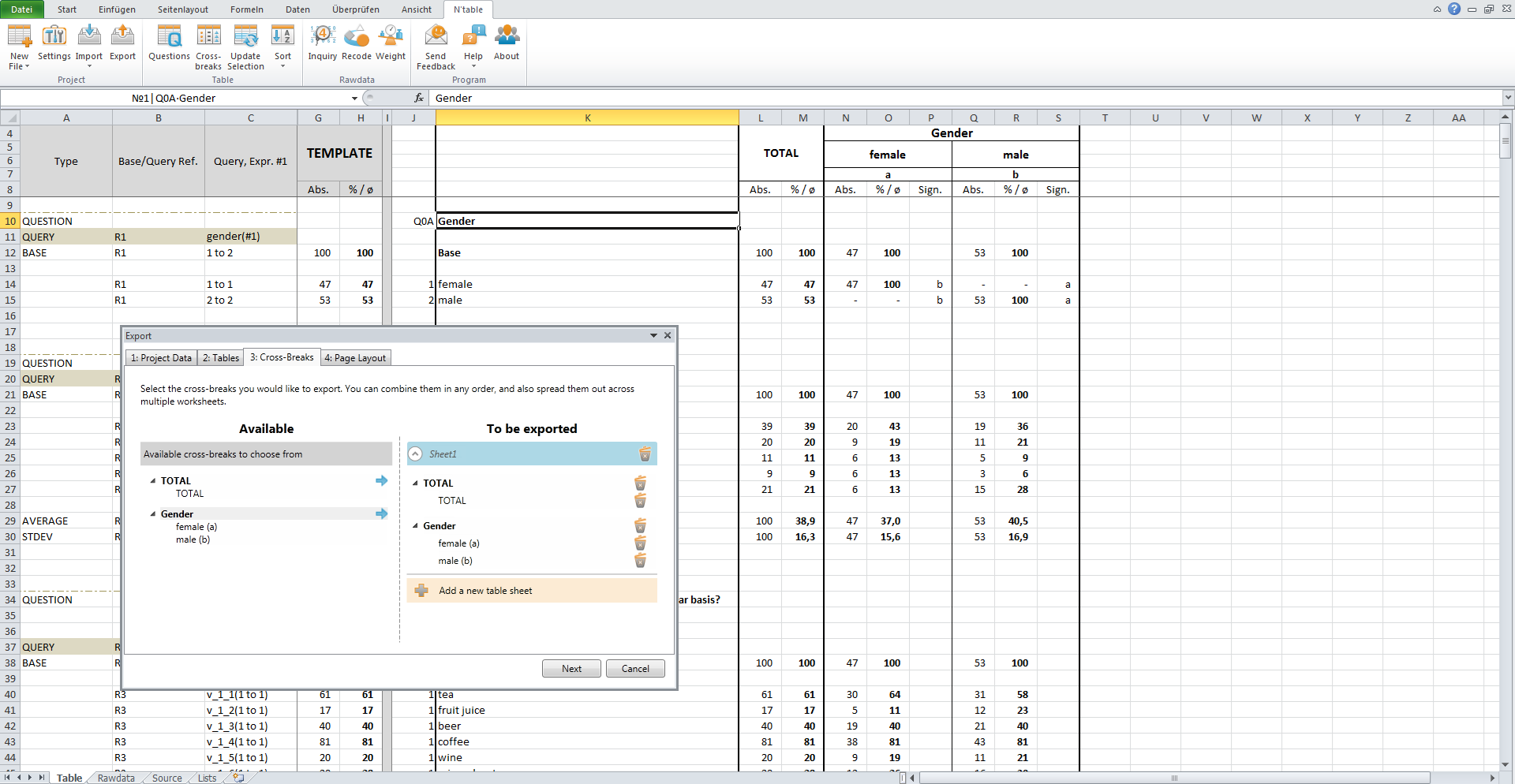 6. Our export wizard allows every combination of cross-breaks in one or multiple Excel sheets.